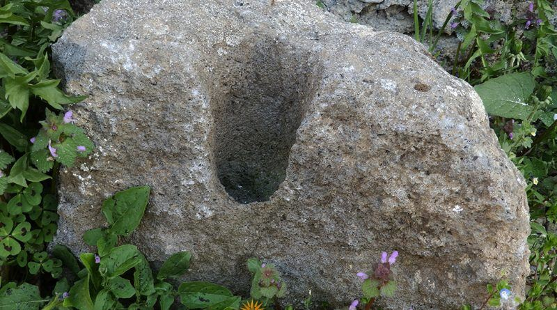 Фрагмент од обработен елемент од постара градба - Сатока