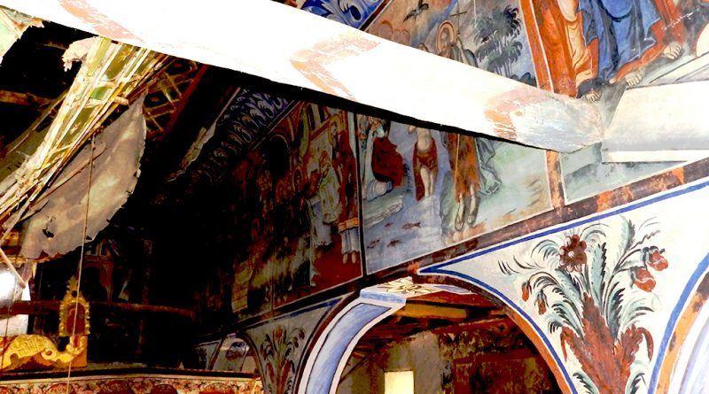 Греда и живопис од пивисокиот дел на јужниот ѕид