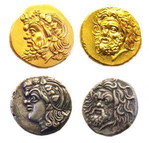 Монети со претстава на богот Пан