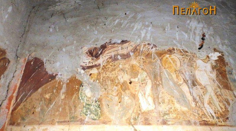 Многу оштетена сцена од јужниот ѕид во олтарот во вториот ред