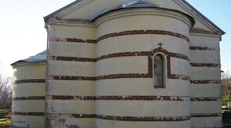 Денешната црква - источен ѕид со апсидата