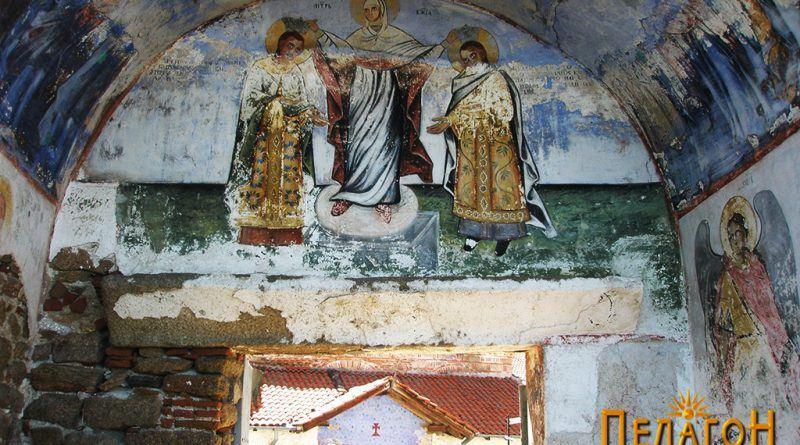 Живописот над влезот во манастирот со претстава на царевите Андроник II и Михаил IX