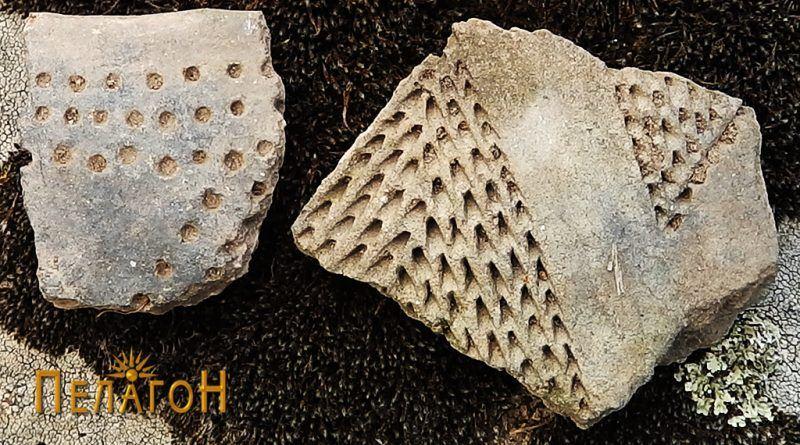 Два фрагменти од керамички сад со украсување