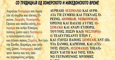 Еден од натписите во селото Дуње со интересни имиња од старите периоди