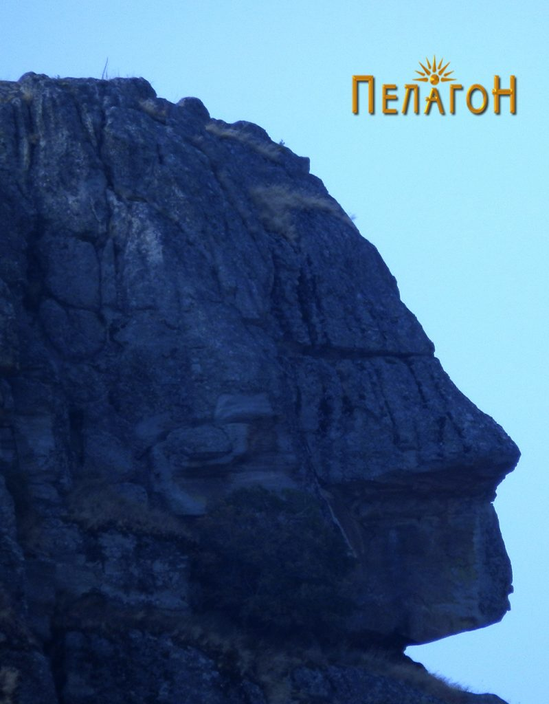 """Антропоморфен лик на врвот на главниот """"стог"""" од западната страна"""