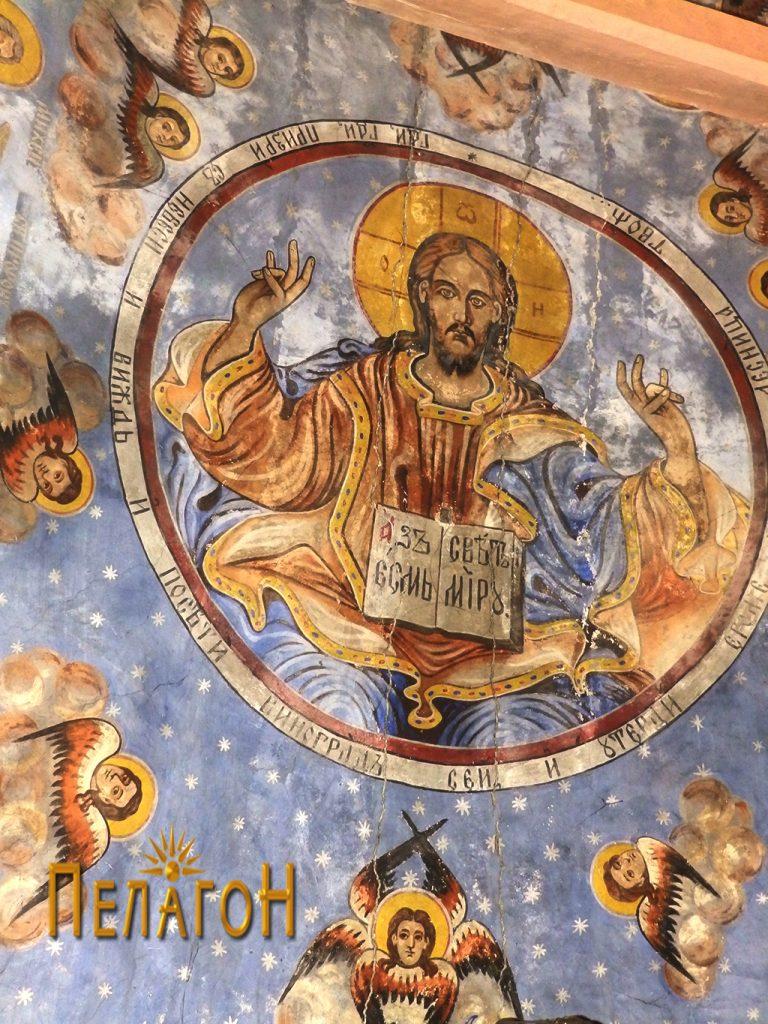 Дел од сводната површина со Исус Христос Седржител, серафими и херувими