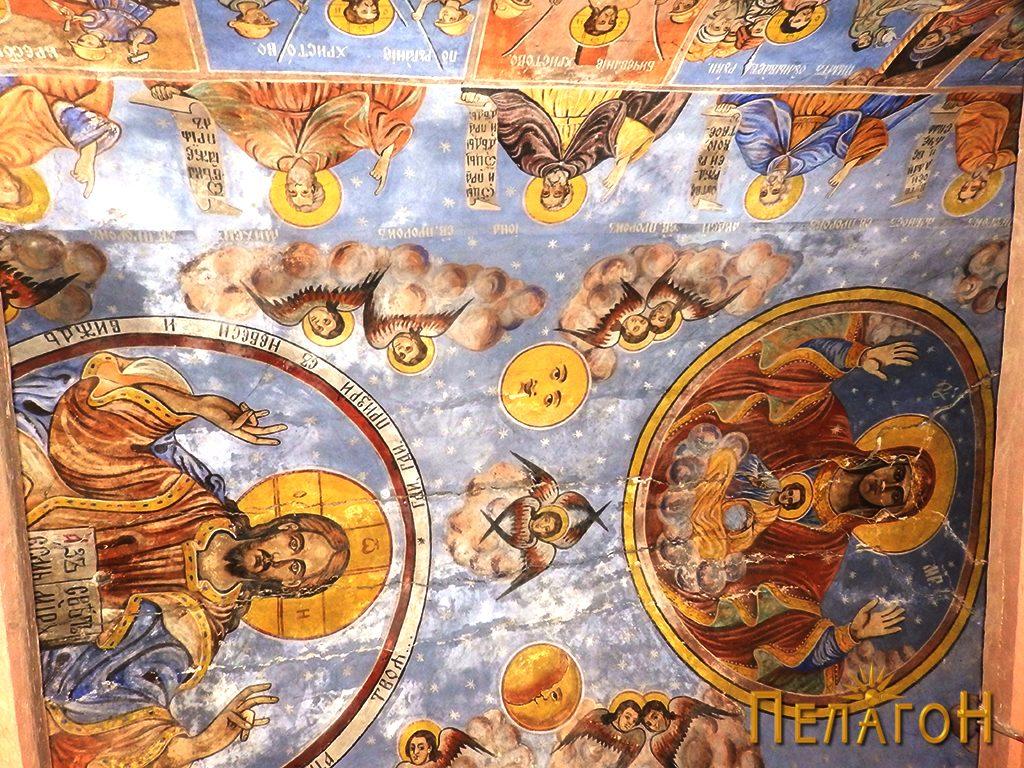Дел од сводната површина со Исус Христос Седржител и св. Богородица со Исус