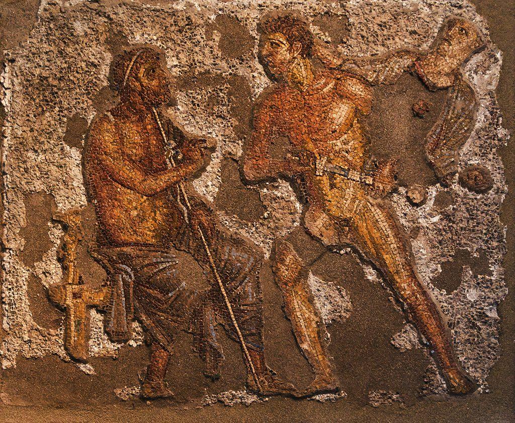Ахил (десно) со Агамемнон (лево) од мозаик во Помпеја
