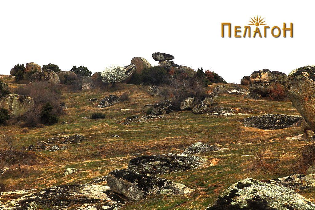 Локалитетот со остатоци од стара населба по сртот на ридот, лево од патот за Дервен