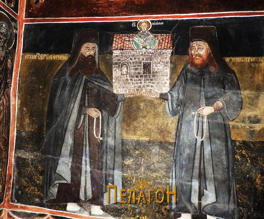 Ктиторите, игуменот еромонах Сергија и неговиот ученик, еромонахот Михаил