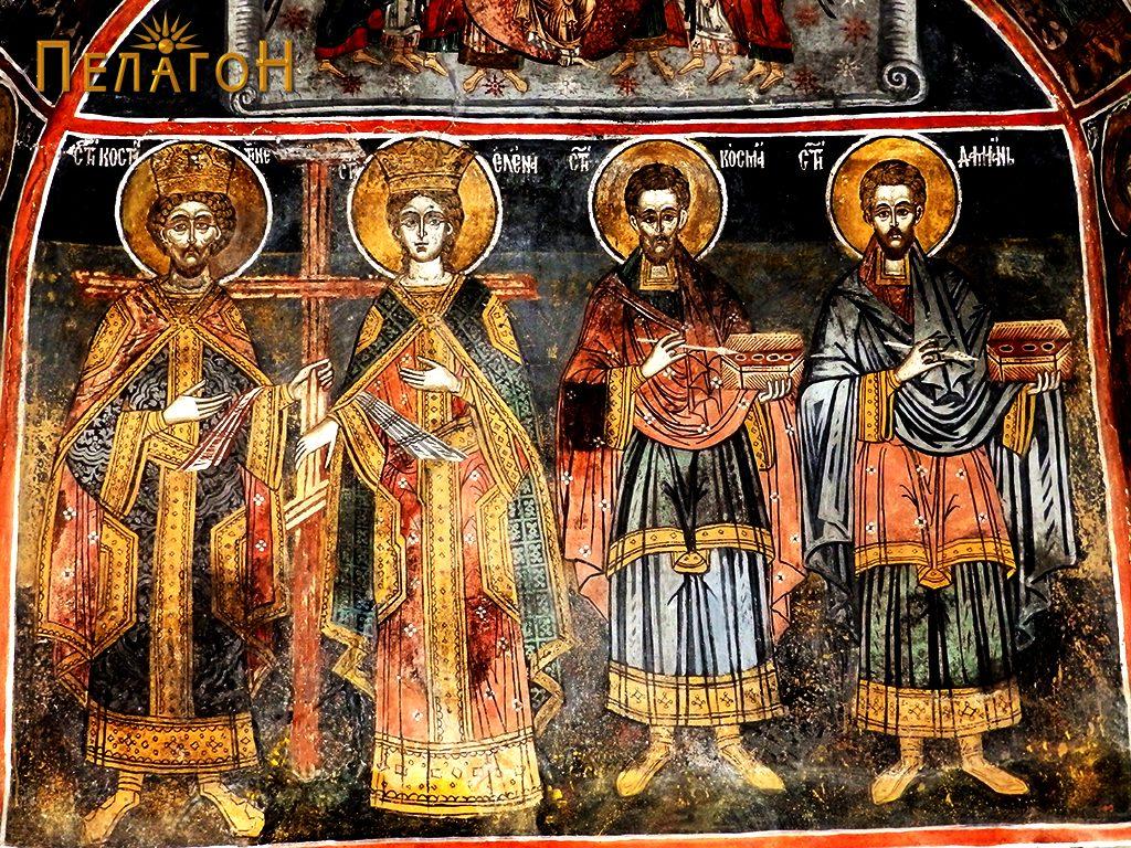 Од лево кон десно: св. Константив, св. Елена, св.Кузман и св. Дамјан