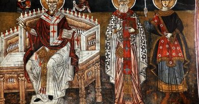 Св. Никола на трон, св. Атанас и св. Димитрија
