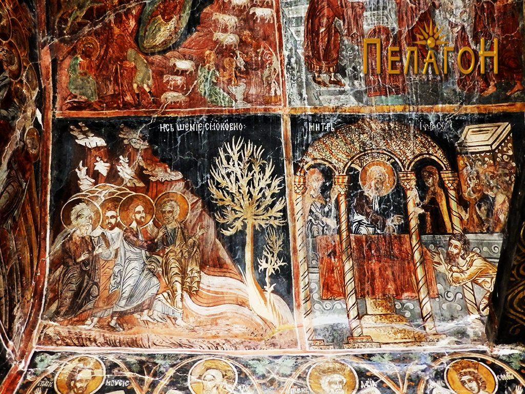 Осветлението смоквино на јужниот дел од ѕидот во олтарот