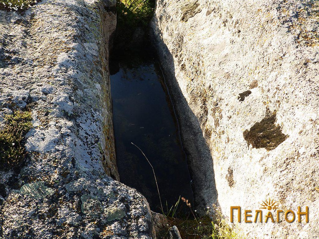 """Еден од гробовите - корита на површините на рамна карпа северно од """"Лавот"""""""