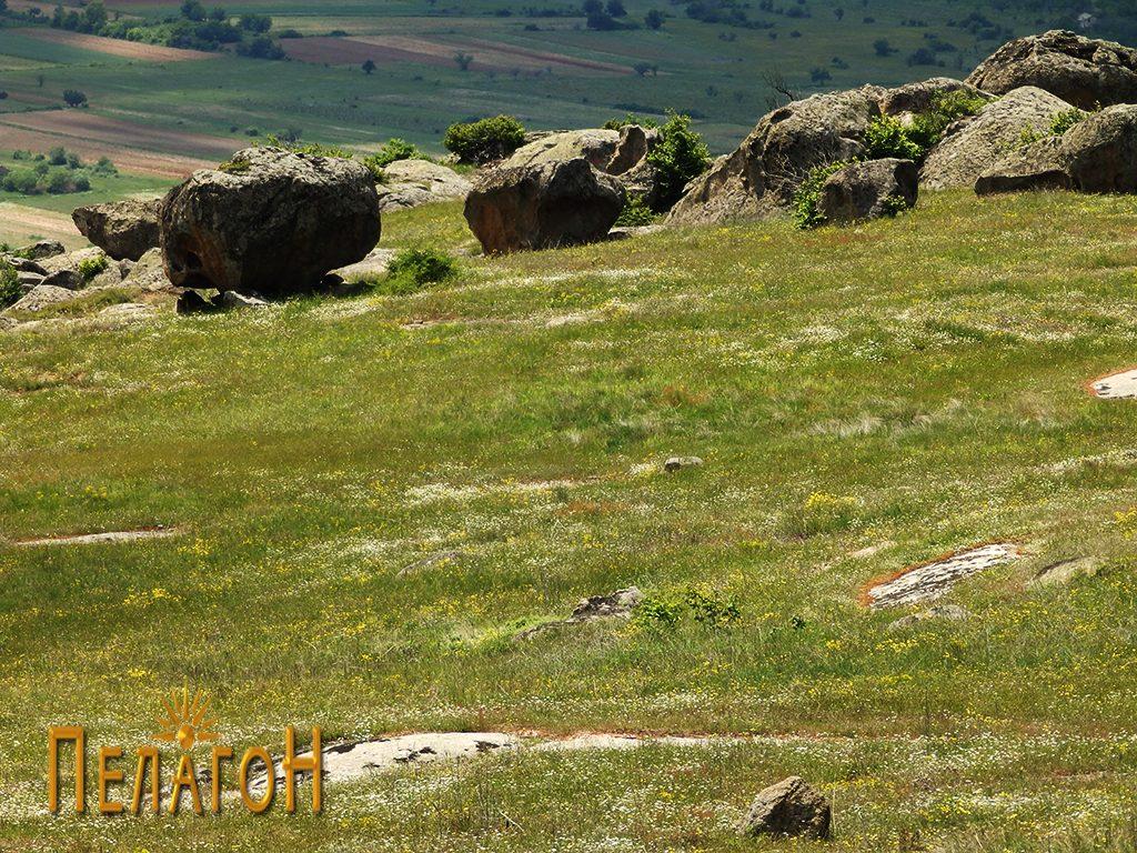 Дел од земната тераса со култната карпа и други карпи
