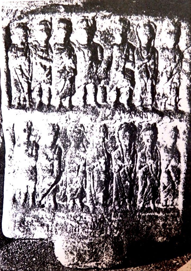 Надгробен споменик со релјефна претстава и натпис - денес во Музеј на Македонија