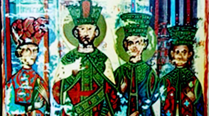 Претставата од манастирот Исфигмен на Атос - Ирина, Ѓураѓ, Катакузина и Мара