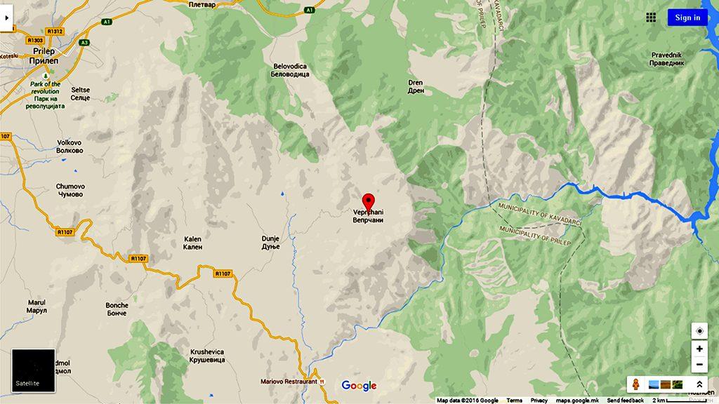 Селото Вепрчани на географска карта