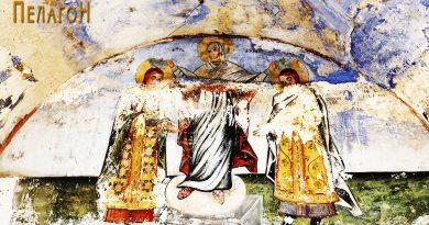 Царевите Андроник II и Михаил IX ги благословува Св. Богородица - на манастирската порта